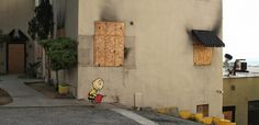 charlie-burn.jpg 1307×635 pixels #charlie #banksy #paint #brown #art #street #spray #humor