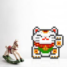 Puxxle · Maneki-neko #new year #maneki-neko #pixel #8bit #puxxle #wall decor #wall decoration #wall #pixel art #puzzle #cat #lucky cat