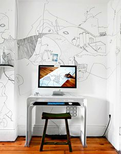 Shantell Martin : Brooklyn rooms with some fine lines #inspiration #wall #art #workspace #room