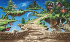 Fantasy World Houses Stairs Wall Hd Background – WallpapersBae