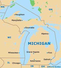 Michigan MI State map #mi #michigan #map #state
