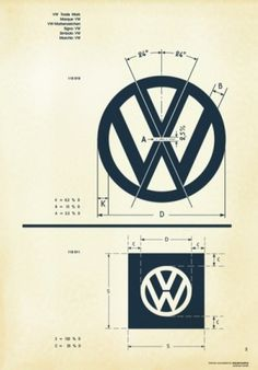 Recreated-Vintage VW Logo Specification Poster For Download   your creative logo designer