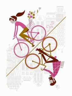Uphill Downhill #san #bicycles #illustration #bike #francisco