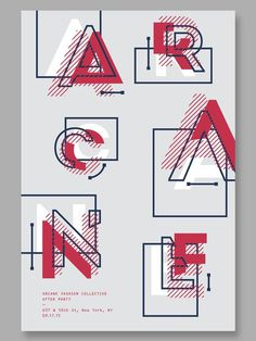 Arcane Fashion Collective Poster - Type as Image #type #typography #typedesign #abstract #swiss #poster