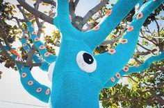 Yarn Bombed Tree Squid2 #squid #art #street
