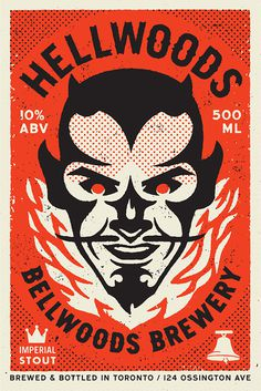 Hellwoods_big #brewery #devil #illustration #fire #vintage #typography