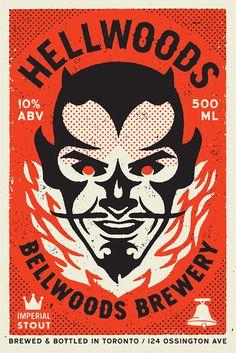Hellwoods_big #brewery #devil #illustration #fire #vintage #typography