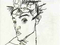 Artist of the moment…Egon Schiele… | Diattaart Blog #line #egon #schiele #portrait #self-portrait #drawing