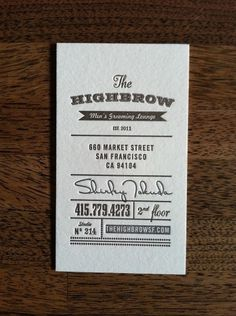 FPO: Highbrow Men\'s Grooming Lounge Business Cards
