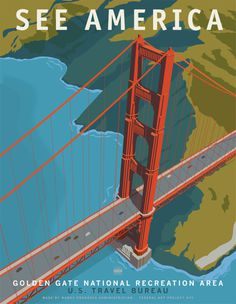US Travel Posters by Steven Thomas for Print Collection in artCategory #posters #america #promotion #san francisco #bridge #illustration #tr