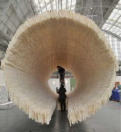 A Suspended Boat of 8,000 Sheets of Rice Paper Draped on Bamboo by Zhu Jinshi #installation #tube
