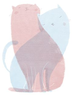 Cuddle Cat by Ina Hattenhauer: Hallo Heute #illustration #cat #ina hattenhauer #hallo heute
