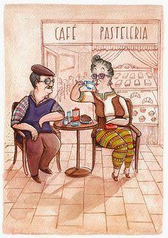 Zaczarowana Walizka #couple #spain #cafe #illustration #coffee #postcard #pastry #watercolour