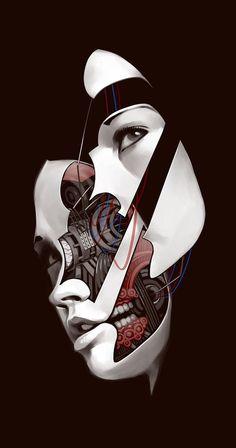 SciFi Fantasy Horror #machine #robot #mechanical #illustration #dissection #face