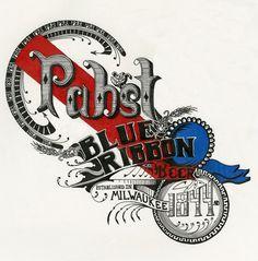 Art & Design Work #beer #ink #design #illustration #handtype #pen #coloredpencil #pabst #typography