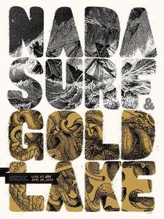 Nada Surf Gold Lake screen print poster