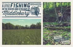 Middlebury, Vermont | Fishing Poster #poster #vermont #aiga #tourism #middlebury #design challenge #john brown