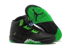 Ladies Sneakers - Jordan Retro 5 with Black and Green #shoes