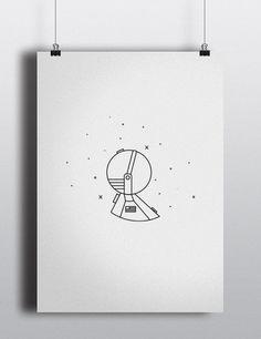 S P ___ C E on Behance #space #illustration #astronaut #orbit #white #black #whitespace #minimalist #clean #hubble #satellite #rocket #space