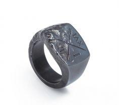 Ivy Noir / Oxidised Signet Ring — SMITH/GREY Jewellery Design Studio #smithgrey #jewellery #latin #grey #oars #ring #signet