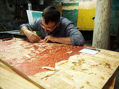 landscape, trees, green, mountain, woodcut, tugboat printshop, printshop
