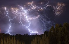 The eruption of Cordon Caulle began on June 4, 2011, located in the Region of Los Rios in Chile. This photograph was taken on the second nig #electricity #photography #storm #eruption #nature #lightning #beauty