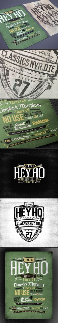 HEY HO Lets Rock flyers vol. 2 by Overloaded design #ovrdesign #rosario #punk #lettering #argentina #rock #flyer #heyho #letsrock #vintage #overloaded #typography