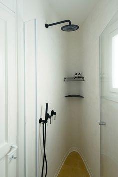 black fixtures in redone Bauhaus apartment, Tel Aviv Israel