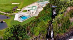 Striking Water Falling Estate in Hawaii Hits the Auction #waterfall #architecture