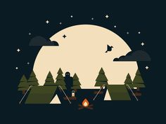 Summer Campout #flat #vector #print #design #color #illustration