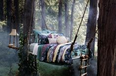 Edge Reps | Ditte Isager | Interiors #dream #pillows #bed #forest #trees