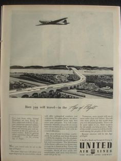 UNITED AIRLINES AD VINTAGE ADVERTISEMENT 1940's #marketing #flight