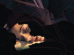 Sleeping Diana #illustration #girl #sleep #night #digital #light #lips #face #myth