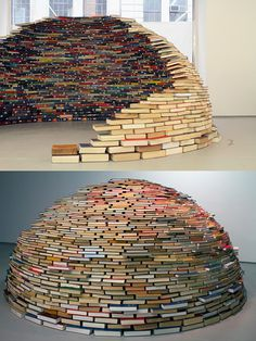 via this isn't happiness: Home by Colombian artist Miler Lagos (http://www.thisiscolossal.com/2012/04/a-dome-of-books/?utm_source=feedbur