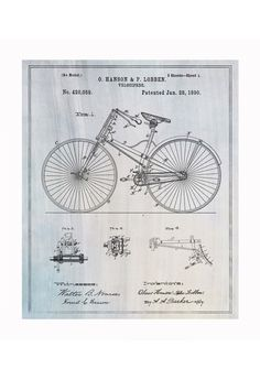Vintage Patent Application Posters #bike