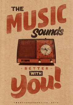 Music Sounds Better With You – Vintage Poster – Retro Art Print #retro #art #print #poster