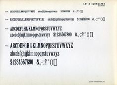 Latin Elongated is a nineteenth century design of unknown provenance. It was sold by ATF as early as 1898. #type #specimen #typography