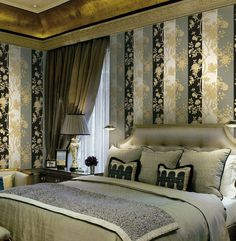 Art wallpaper above luxury bed