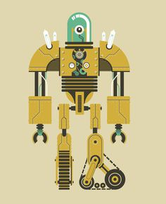 vintage robot v3.jpg #bulb #robot #tread #retro #vacuum #tube #droid #gear #light
