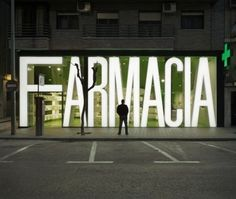 Typeverything.com Casanueva Pharmacy sign/façade... - Typeverything #architecture #sign #clavel arquitectos