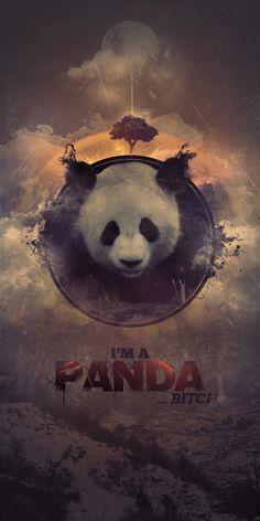 I'm A Panda by Everlong Design #wild #clouds #tree #photomanip #wilderness #panda #case #nature #poster #splatter #bitch