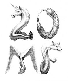 20 Million Fragments « Jonathan Zawada #inspiration #lettering #illustration #animals #pencil #mythical