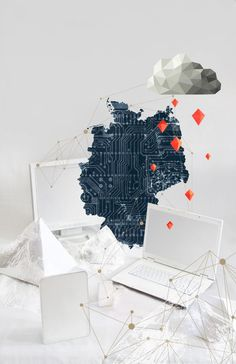 "https://www.behance.net/gallery/publicateur newspaper 01 Illustration and layout/11980281 ""cloud computing"" ""data security"" germany, IT #computer #security #cloud #installation #germany #cover #technology #illustration #rain #it #handelsblatt #computing #data #papercraft #magazine"