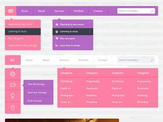 Free Flat Web UI Kit PSD