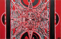 Red Black White by Nadja Christin #painting #red #black #white #abstract #synaesthesia #mandala #design