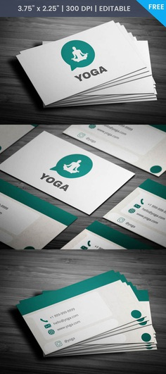 Free Whatsapp Themed Yoga Business Card Template