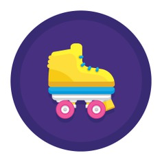 See more icon inspiration related to skate, roller, sports and competition, hobbies and free time, roller skate, leisure, skater, skating, transportation and sport on Flaticon.