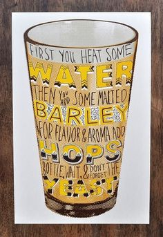 Beer Screen Print - Man vs Ink | Design.org #glass #beer #text