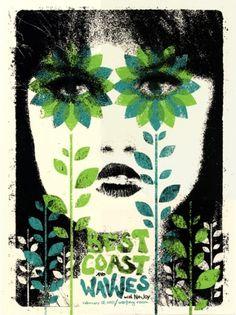GigPosters.com - Best Coast - Wavves - No Joy #design #illustration #gig poster #screen print #doe eyed