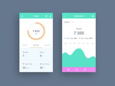 A really great fitness app concept design with soothing colors.